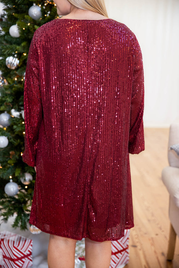 dress, special occasion, party, red, sequin, long sleeve, flattering, winter, new years