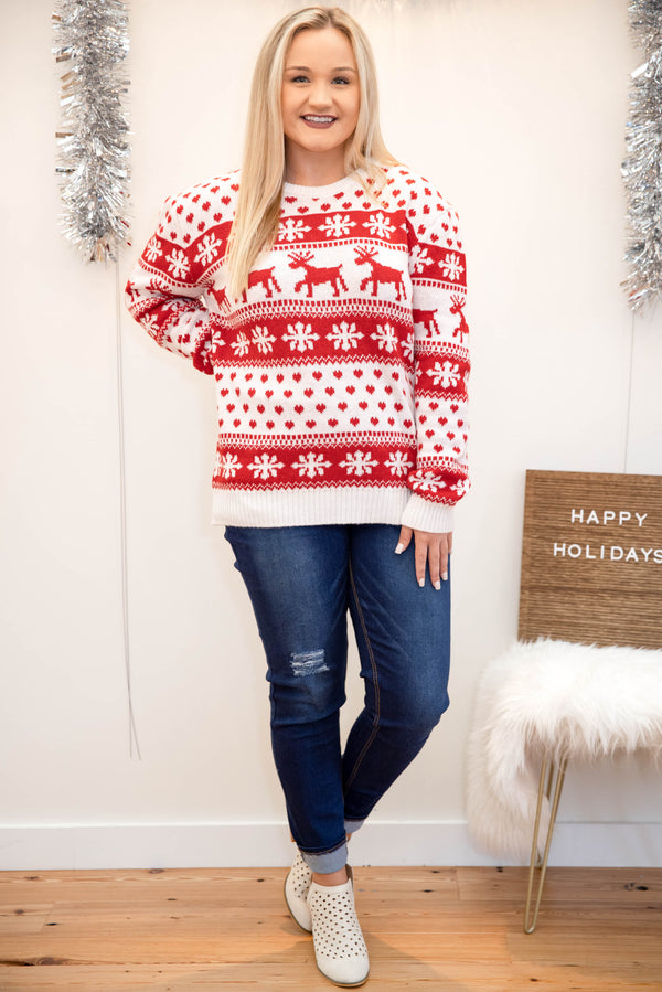 top, sweater, red, white, novelty, long sleeve, holiday, Christmas