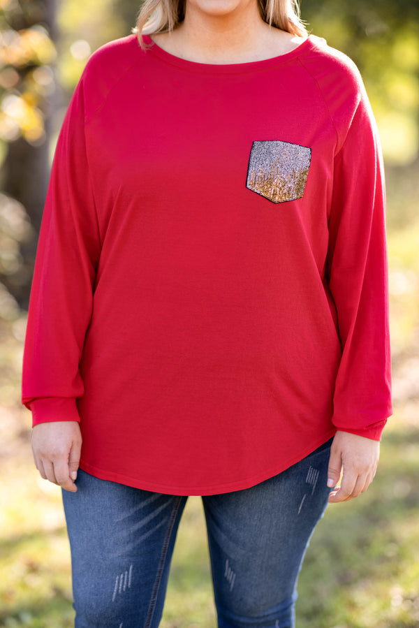 top, tunic, red, sequin pocket, vneck, slouchy, long sleeve