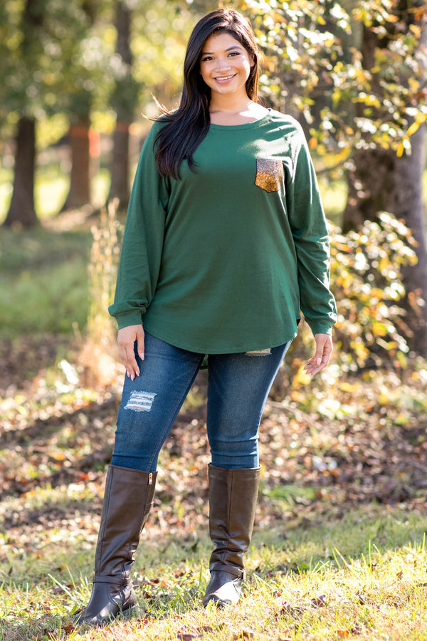 top, tunic, hunter green, slouchy, sequin pocket, long sleeve