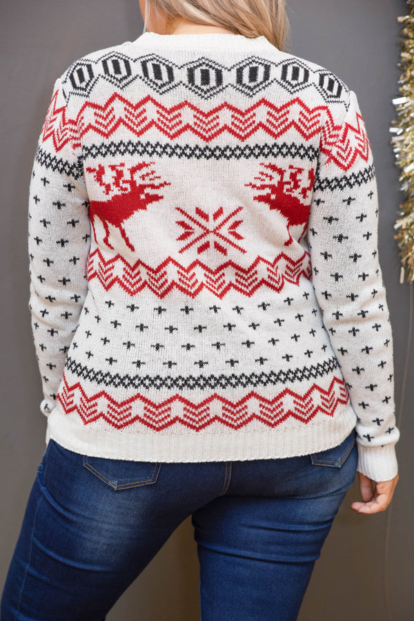 top, sweater, white, red, graphic, long sleeve, flattering, Christmas sweater