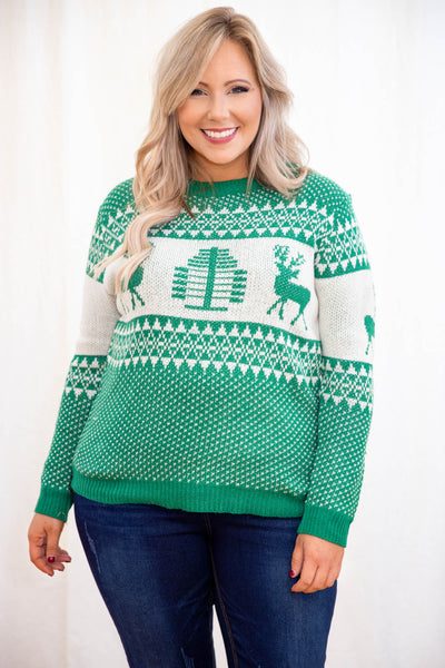 top, sweater, green, novelty, white, long sleeve, holiday, Christmas