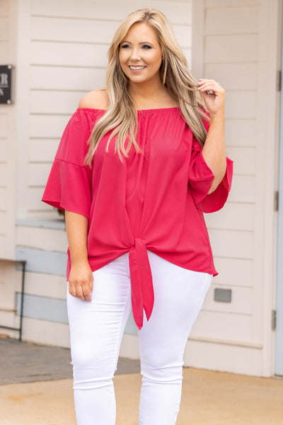 top, shirt, blouse, pink, hot pink, solid, bell sleeve, front tie, mid sleeve, flowy, comfy, spring , off the shoulder