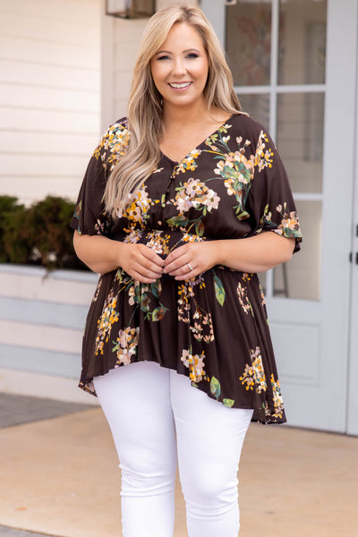 top, blouse, floral, brown, flowy, white, cream , mid length, v neck
