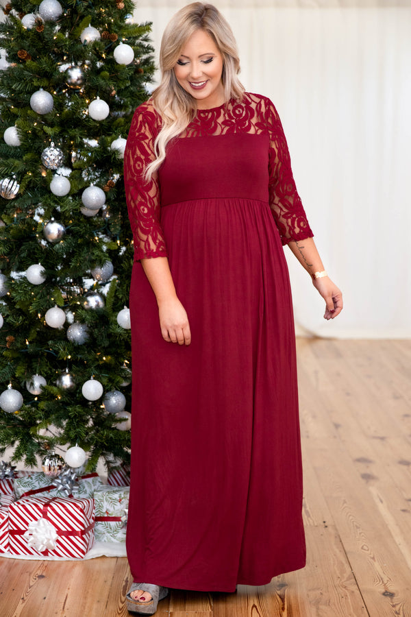 dress, maxi dress, red, lace, long sleeve, holiday dress, Christmas, scoop neck