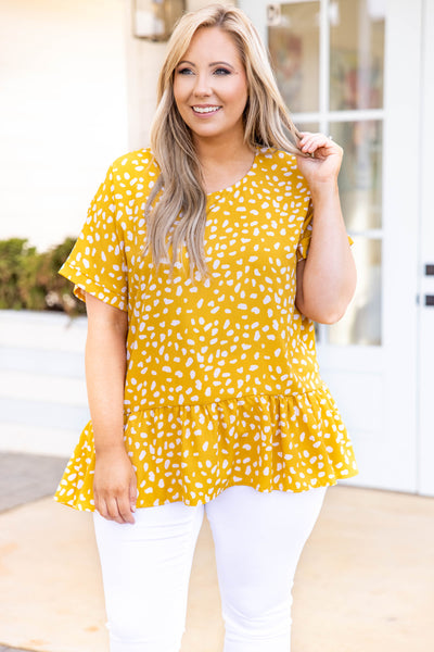 top, casual top, babydoll top, mustard, cream, leopard, short sleeve