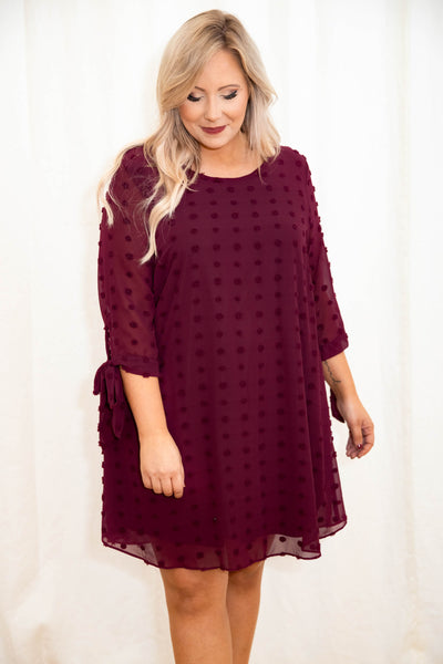 dress, party dress, special occasion, red, burgundy, polka dot, swiss dot, three quarter sleeve, scoop neck