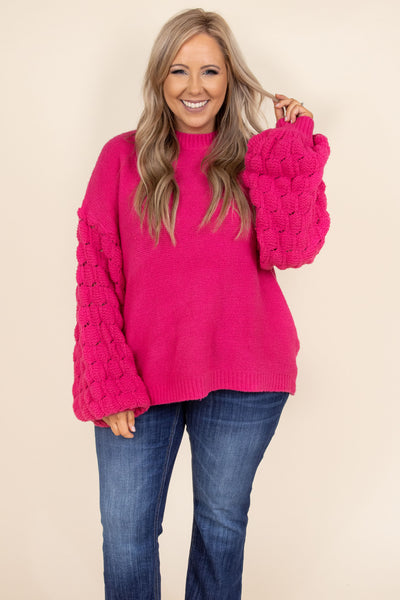 top, sweater, hot pink, pink, knit, bubble sleeve, comfy