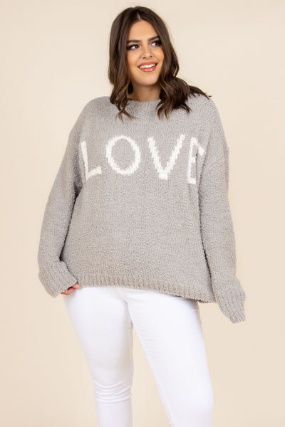 top, casual top, sweater, gray, white, graphic, comfy, winter, layer, long sleeve