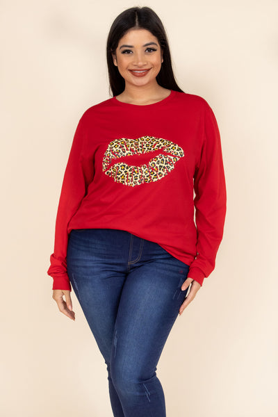 top, tee, graphic, red, cheetah, long sleeve, lips, kiss