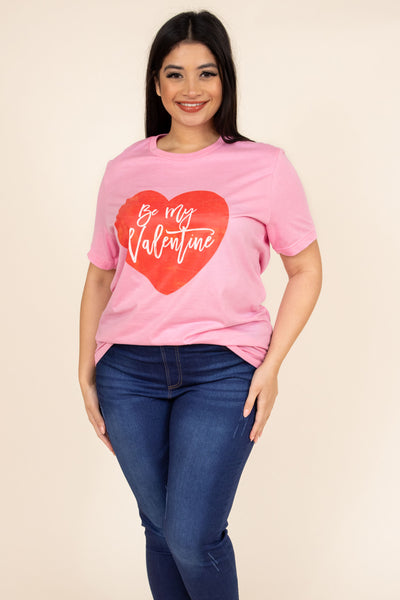 tee, short sleeve, comfy, pink, red, heart, valentine, graphic