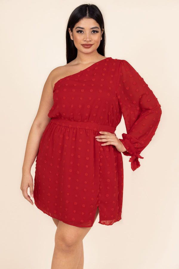 dress, special occasion, party, red, polka dot, long sleeve, one shoulder, off shoulder