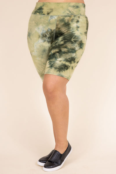 shorts, lounge, bike shorts, olive, green, tie dye