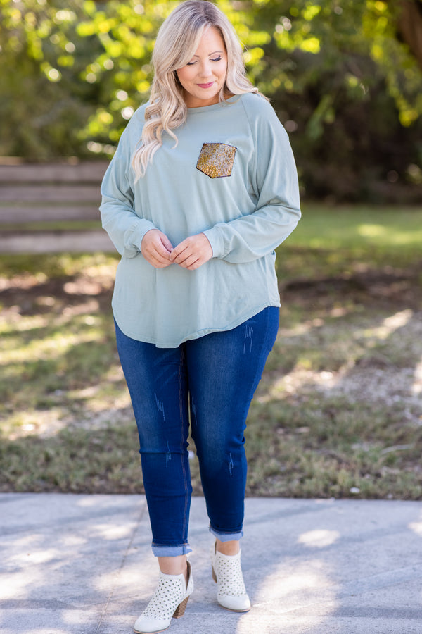 Curved Hem Slouchy Dolman Tunic, Mineral Mint Sequin