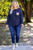 Curved Hem Slouchy Dolman Tunic, Navy Sequin