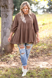 top, casual top, babydoll top, brown, solid, flattering, three quarter sleeve, fall, winter