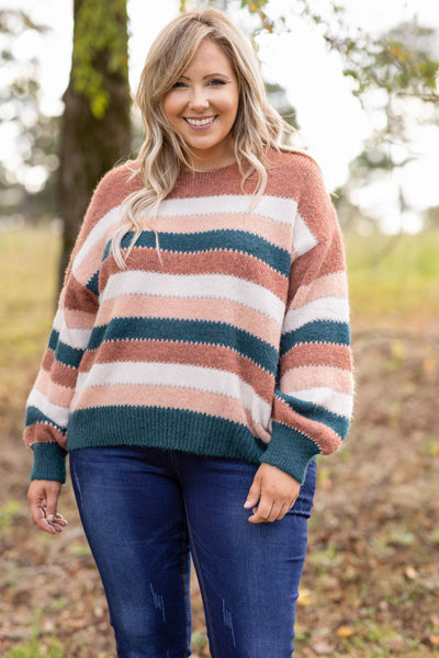 top, sweater, striped, brown, orange, teal, long sleeve