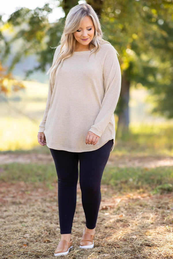 top, tunic, brown, taupe, oatmeal, thermal, solid, long sleeve, dolman, slouchy