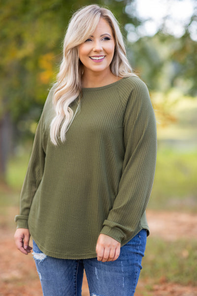 top, tunic, green, olive, thermal, solid, dolman, slouchy