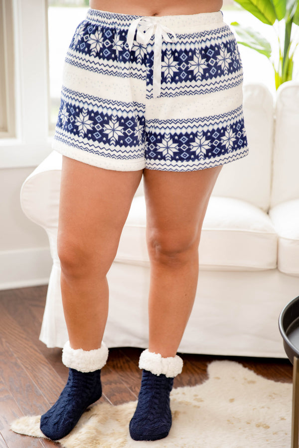 bottoms, lounge shorts, blue, white, snow flakes, Christmas pajamas, comfy, casual, shorts
