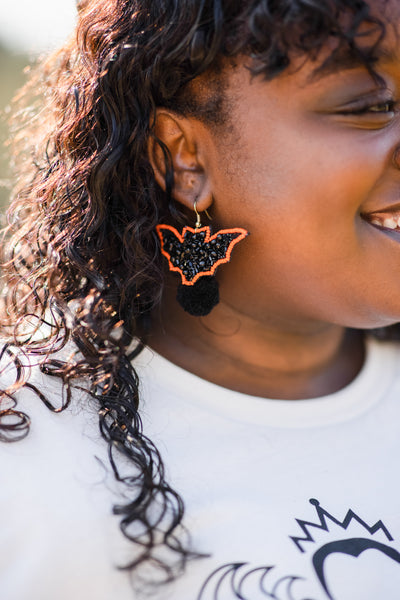 accessories, earrings, studs, black, orange, bat, Halloween, dangle, novelty