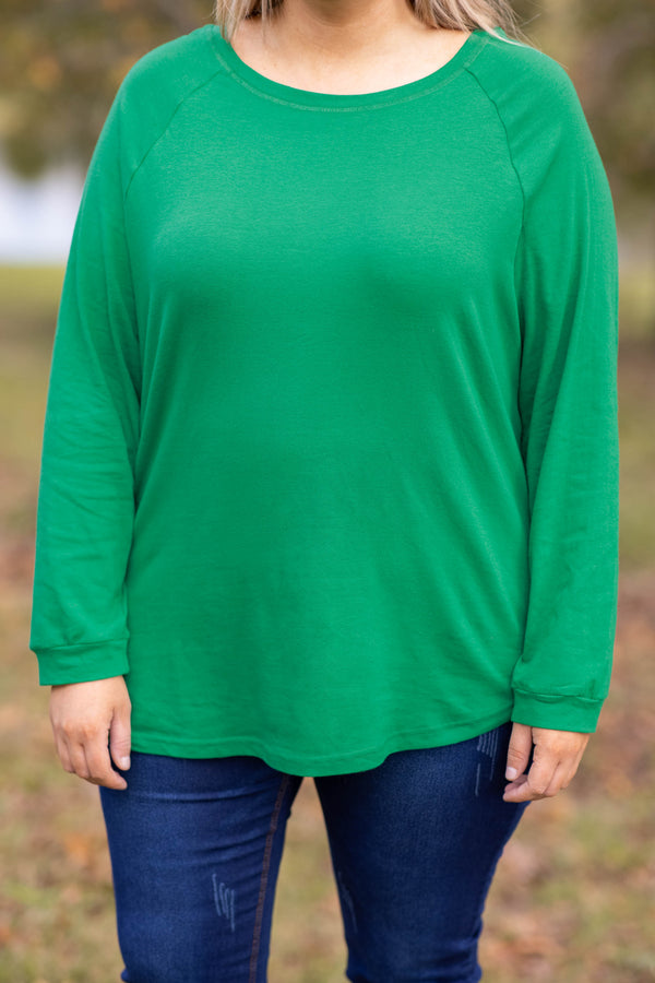 top, tunic, kelly green, green, solid, long sleeve, soft, comfy, casual, warm, layer