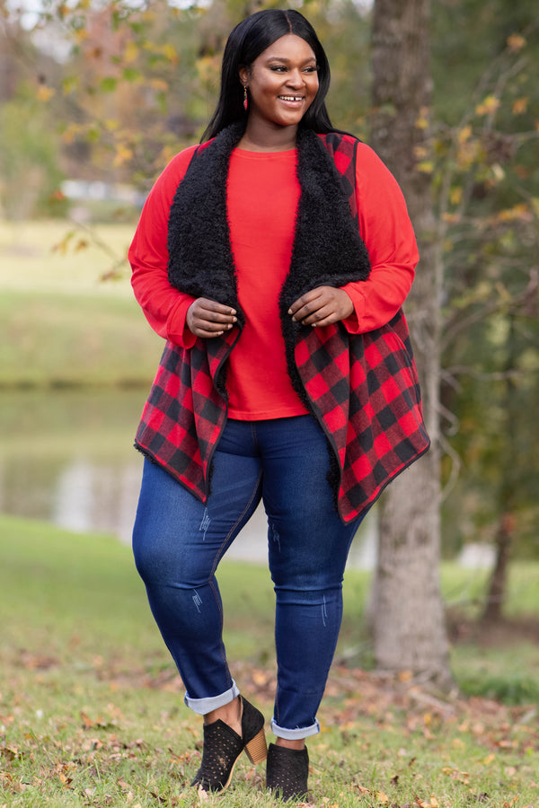top, tunic, red, solid, long sleeve, soft, comfy, casual, warm, layer