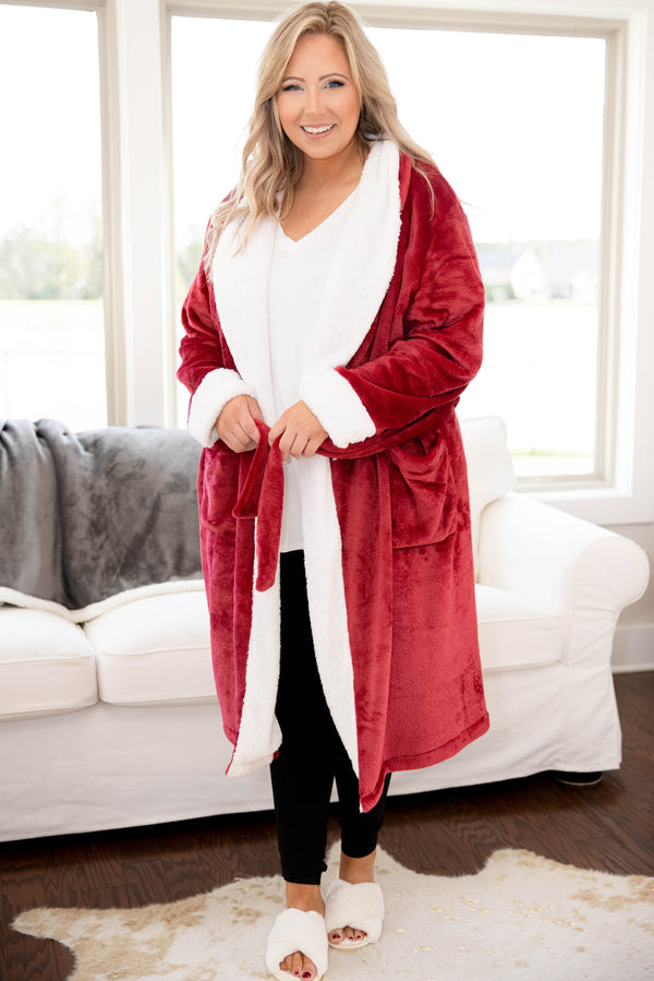 top, robe, red, long sleeve, solid, fuzzy, winter, warm, cozy