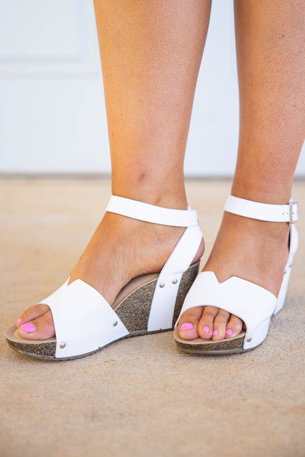 shoes, wedges, white, solid, open toe
