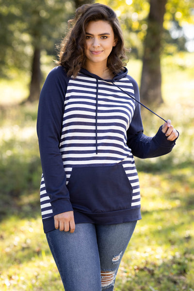 top, hoodie, pullover, blue, white, striped, long sleeve, soft, warm, comfy, casual
