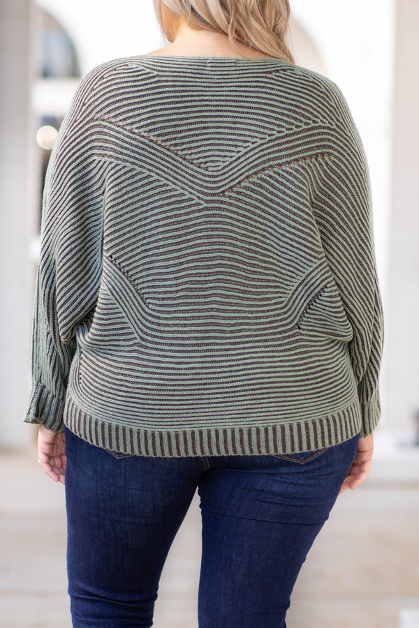top, sweater, green, sage, striped, long sleeve