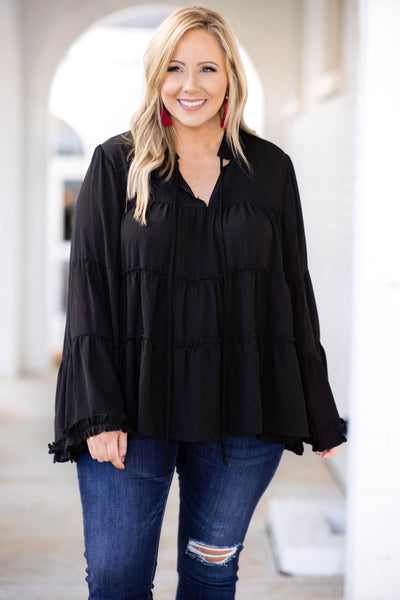 top, babydoll, basic, black, solid, bell sleeve, v-neck, ruffles, flowy