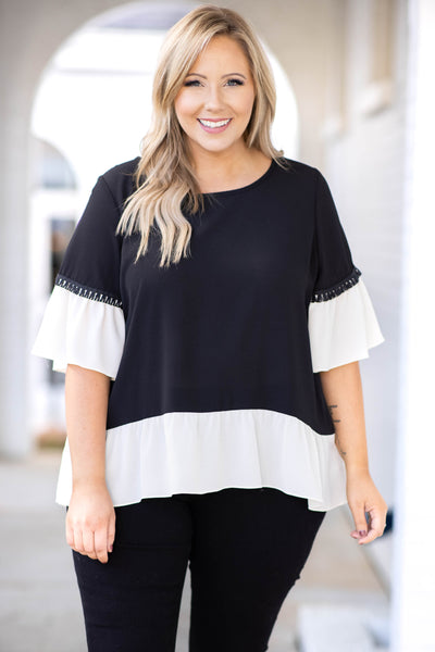 top, casual top, babydoll top, black, tassel, three quarter sleeve, ruffle, white, scoop neck