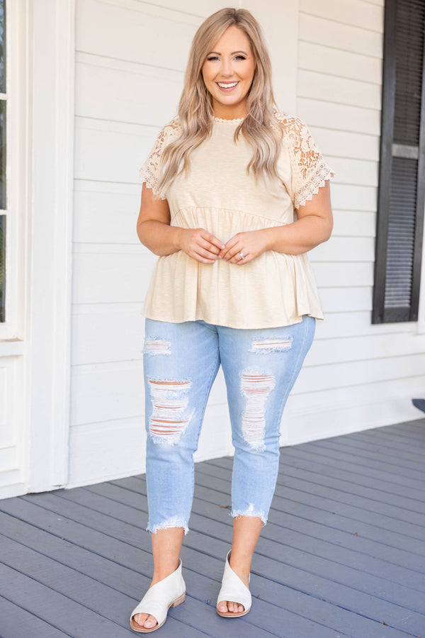 top, casual top, brown, lace, short sleeve, taupe