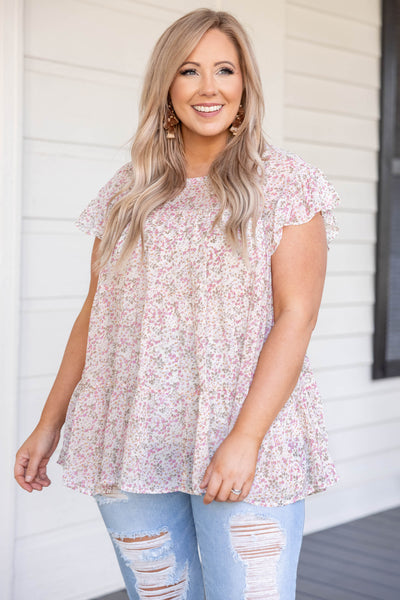 top, casual top, babydoll top, white, cream, floral, short sleeve