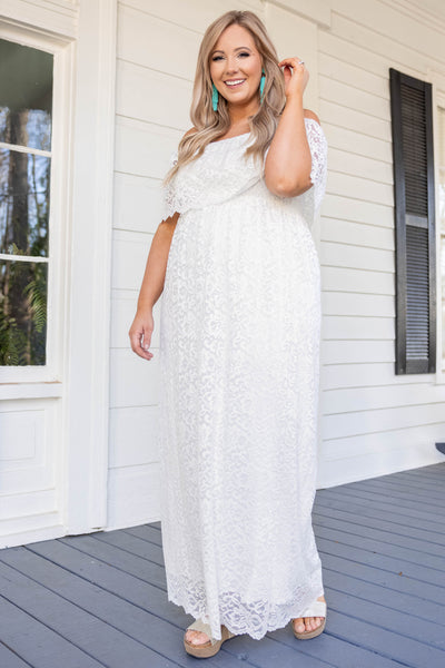 dress, special occasion, party, white, lace, strapless, off the shoulder, maxi, ivory