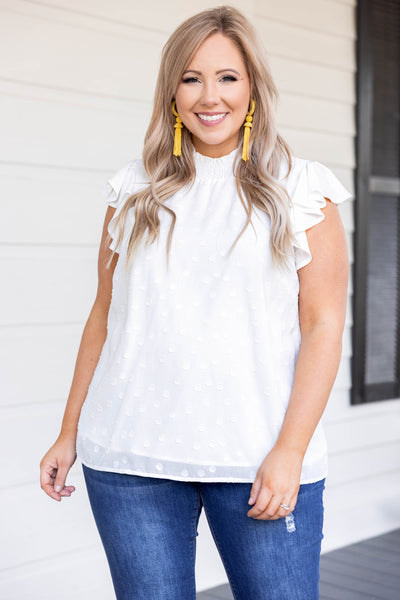 top, casual, white, polka dot, flutter sleeve, ruffles