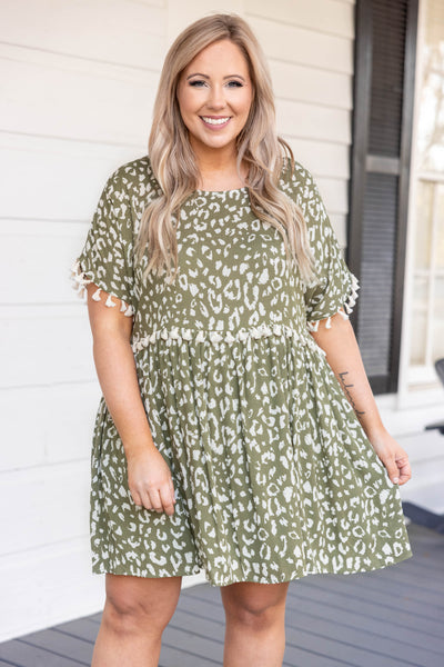dress, casual, babydoll, green, leopard, short sleeve, spots, olive, tassels