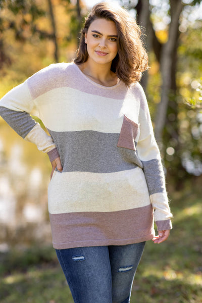 top, sweater, pink, colorblock, long sleeve, grey, ivory, pocket, scoop neck