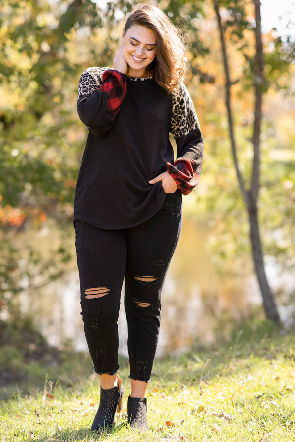 top, casual, red, black, brown, colorblock, plaid, leopard, solid, bubble sleeve, cute, trendy