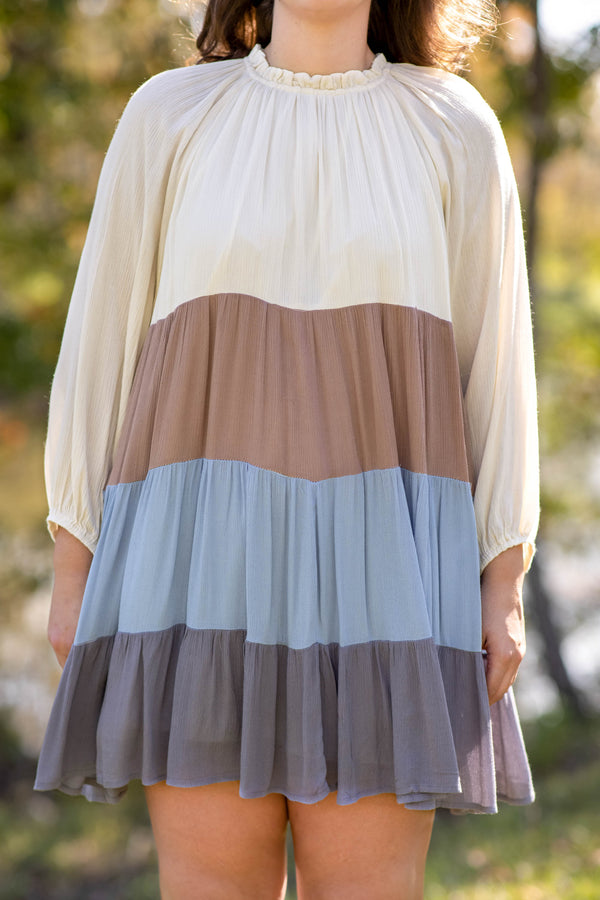 dress, casual, denim, blue, white, brown, taupe, babydoll, long sleeve, colorblock, flowy, ruffle neckline