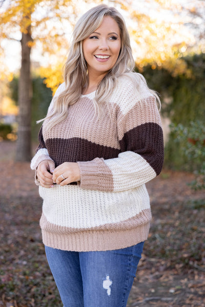 top, sweater, beige, brown, ivory, striped, long sleeve, warm, comfy, casual, winter