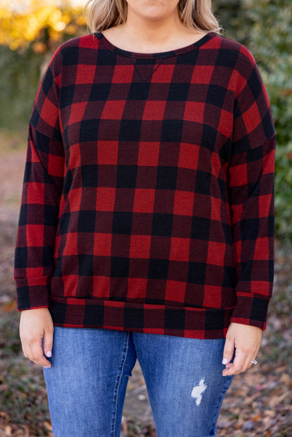 top, casual top, black, red, plaid, long sleeve, warm, layer, casual, warm, winter, holiday