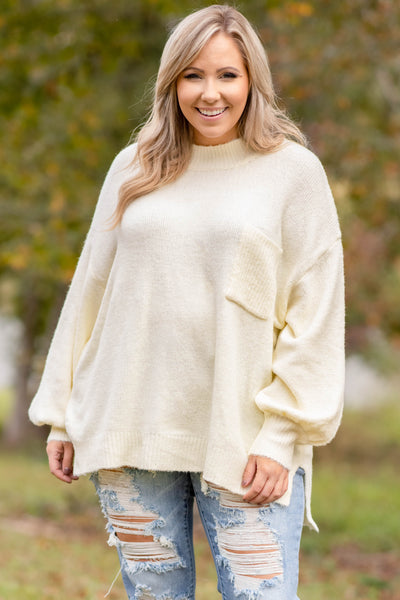 top, sweater, white, cream, solid, long sleeve, pocket, winter, warm