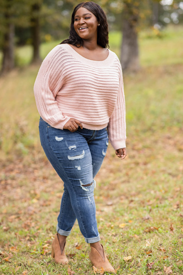 top, sweater, pink, striped, long sleeve, scoop neck, textured
