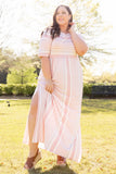 dress, pink, maxi, striped, short sleeve