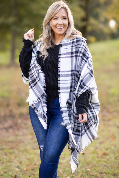 top, scarf, white, black, plaid, warm, winter, fall
