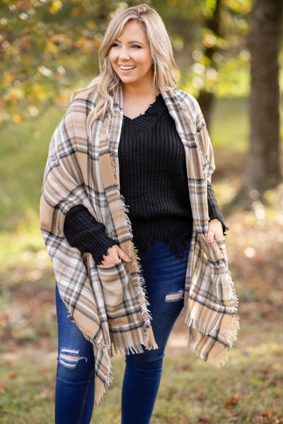top, kimono, brown, plaid, winter, warm, layer