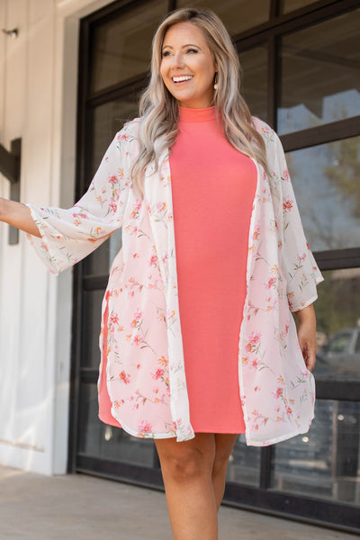 top, kimono, white, ivory, floral, see through, long sleeve