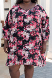 dress, casual, black, floral, pink, bubble sleeve